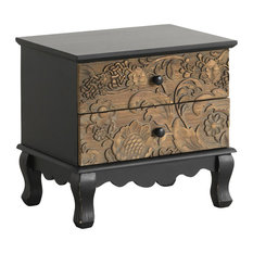 Spruce Wood Carved Bedside Table, 2 Drawers