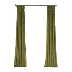 "Heritage Plush Velvet Curtain Single Panel, Retro Green, 50""x108"""