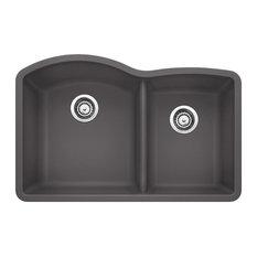"""Blanco 441469 80.8""""x32"""" Granite Double Undermount Kitchen Sink, Cinder"""