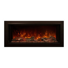 """60"""" Built-in Electric Fireplace, Hand Painted Glowing Driftwood Log Set"""