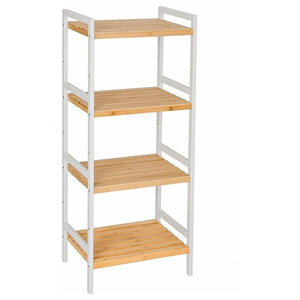 Bamboo Rack Storage With White Frame and Open Shelves, 4 Tier