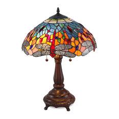 "Serena d'italia Tiffany 2-Light Red Dragonfly 25"" Table Lamp"