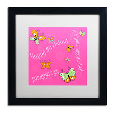 "Nilsson 'Pink Butterfly Girl Birthday' Art, Black Frame, 16""x16"", White Matte"