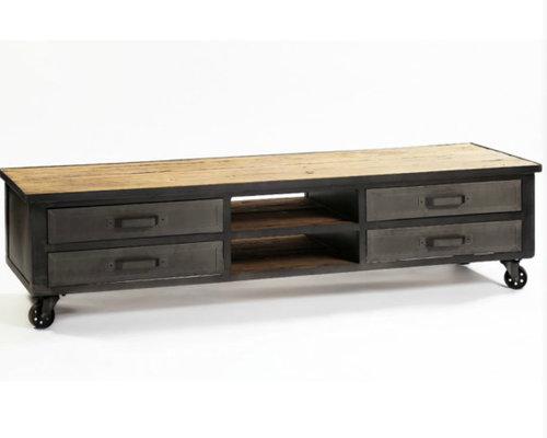 Mueble tv metal y pino reciclado 180