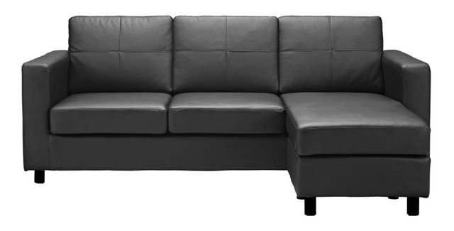 Bonded Leather Sectional Sofa Black