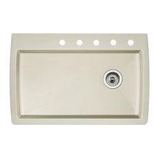 "Blanco 440196-5 22""x33.5"" Granite Single Dual-Mount Kitchen Sink, Biscuit"