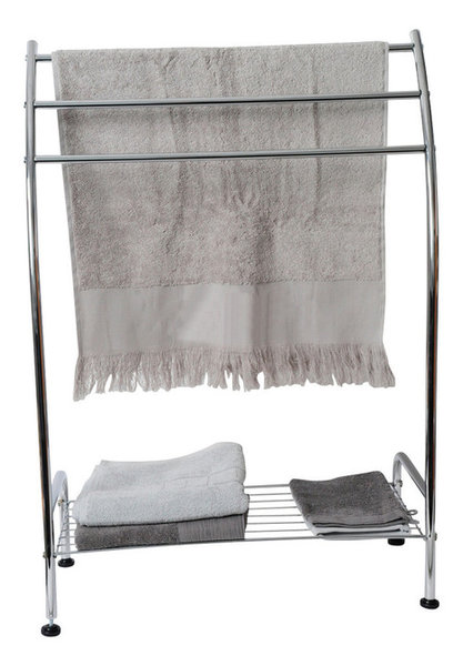 3 Bar Bathroom Curved Towel Rack Stand Holder With Bottom