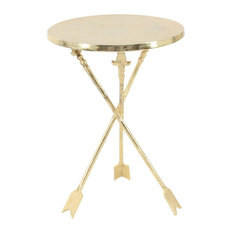 Contemporary Round Aluminum Arrow-Legged Accent Table