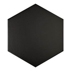 "8.63""x9.88"" Textilis Hex Porcelain Floor and Wall Tile, Black"