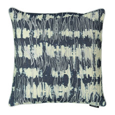 Tie-dye Washed Denim Silver Embroidery Decorative Pillow