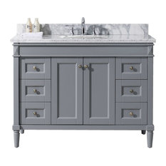 "Tiffany 48"" Single Bathroom Vanity Set Gray, Marble Countertop With No Mirror"