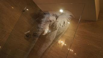 'Elephant' Engraved Glass Shower Enclosure