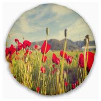 """Wild Red Poppy Flowers in Field Flower Throw Pillow, 20"""" Round"""