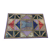 Mogulinterior - Indian Sari Tapestry Blue Embroidered Patchwork Wall Decor - Tapestries