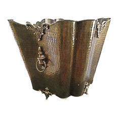 Solid Brass Planter Scalloped Footed