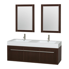 "Axa 60"" Double Vanity Acrylic Resin Top, Espresso, 24"" Mirrors"
