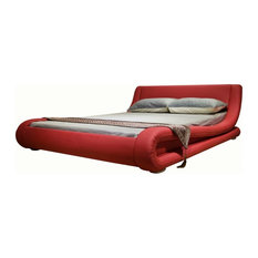 Greatime B1070 Contemporary Upholstered Platform Bed, Red, California King