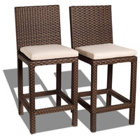 Monza Patio Wicker Barstool 2 Piece Barstool Set With Off-White Cushions
