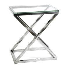 Glass Side Table Eichholtz Criss Cross Black 25-inchx17-inchx28-inch
