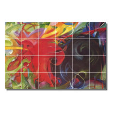 "Franz Marc Abstract Painting Ceramic Tile Mural #16, 72""x48"""