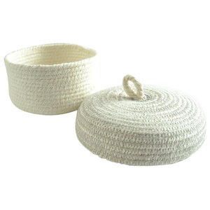 Cotton Box With Lid, Light Grey
