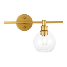 Brass Finish and Clear Glass 1-Light Right Wall Sconce, Brass, Clear