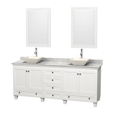 "80"" Acclaim White Double Vanity With White Carrera Marble Top and Pyra Bone Sink"