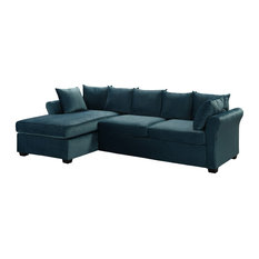 Modern Velvet Sectional Sofa Large L-Shape Couch With Extra Wide Chaise Lounge
