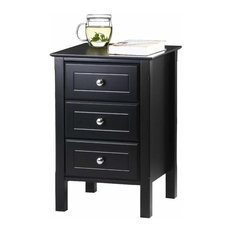 Modern Nightstand MDF 3-Drawer And Silver Handle Black Gloss Finish
