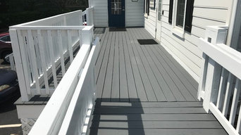 Exterior painting of a weathered deck