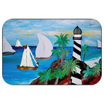 "Mary Gifts By The Beach - Light House Bay Plush Bath Mat, 20""x15"" - Bath mats from my original art and designs. Super soft plush fabric with a non skid backing. Eco friendly water base dyes that will not fade or alter the texture of the fabric. Washable 100 % polyester and mold resistant. Great for the bath room or anywhere in the home. At 1/2 inch thick our mats are softer and more plush than the typical comfort mats.Your toes will love you."