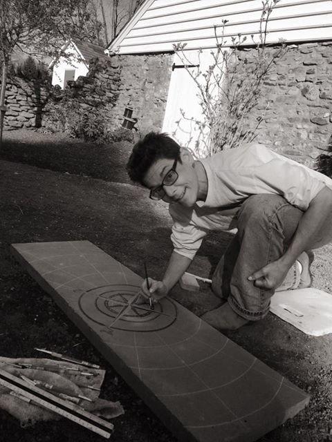 Bluestone carving - True North Garden Paver- In Process