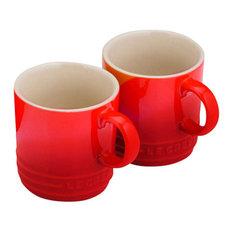 Le Creuset Stoneware Espresso Mugs, Cerise, Set of 2