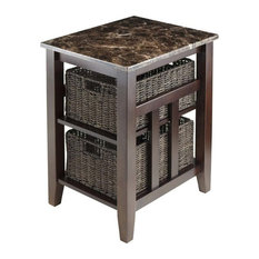 Pemberly Row Faux Marble Top Side Table Chocolate With 2 Baskets