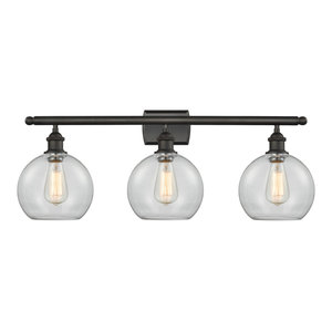 Athens 3-Light Bath Fixture, Clear Globe Glass, Oil Rubbed Bronze