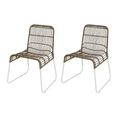 Balla Kubu Rattan Dining Chairs, White, Set of 2