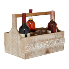 """Rectangular Wood Wind Holder With Side Carved Pattern Detail, 15""""x12"""""""