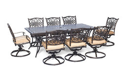 Traditions 9-Piece Dining Set With Swivel Chairs