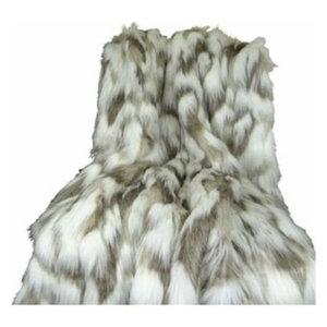 Plutus Tibet Faux Fox Handmade Throw Blanket, 80 X 110