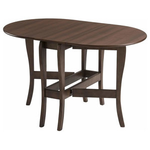 Modern Drop Leaf Table, Heatproof and Oval Tabletop Design, Walnut