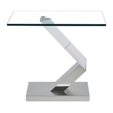 "Geometric Style Base End Table 24x24x21"" Silver/Clear"