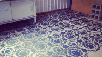 Stencilling Cement Floors with Chalk Paint