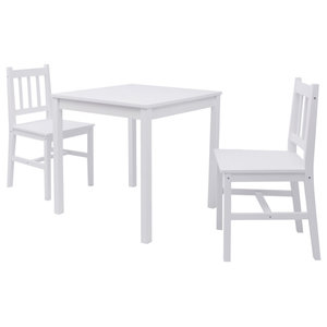 vidaXL 3-Piece Pinewood Dining Set, White