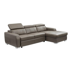 1822 Modern Leather Sectional Sofa With Bed In Grayish Brown Taupe
