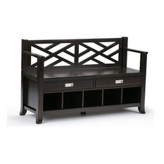 """47"""" Wide Entryway Storage Bench With Drawers & Cubbies In Espresso Brown"""