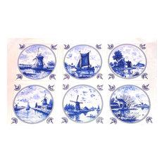 Blue Delft Kiln Fired Ceramic Tile Wind Mill Boat House Decor, 6-Piece Set
