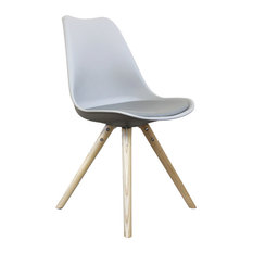 Scandi Style Dining Side Chair, Pyramid Beech Wood Legs, Dove Grey