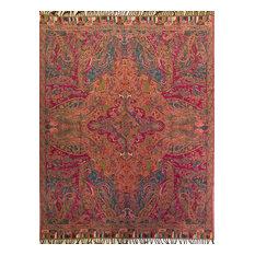 Kannur Paisley Wool/Cotton Throw, Aqua/Multicolor