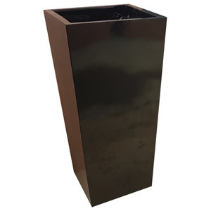 Glossy Black Flared Square Fibreglass Planter, 35x35x56 cm