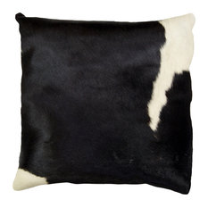 "Natural Torino Cowhide Pillow 18""x18"", Black and White"